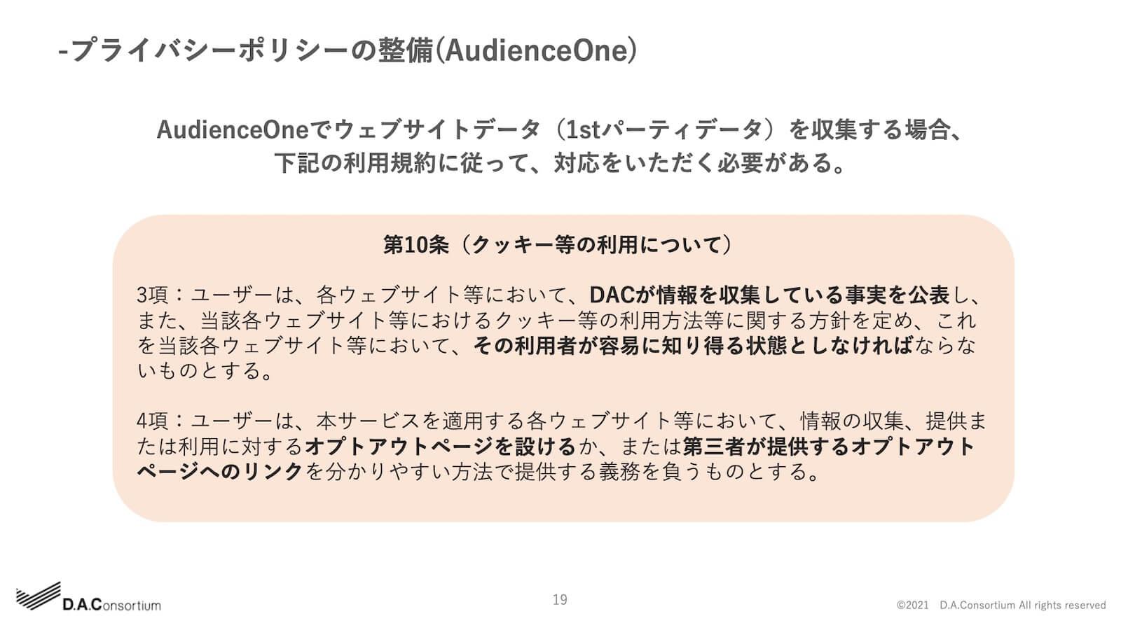 プライバシーポリシーの整備(AudienceOne)