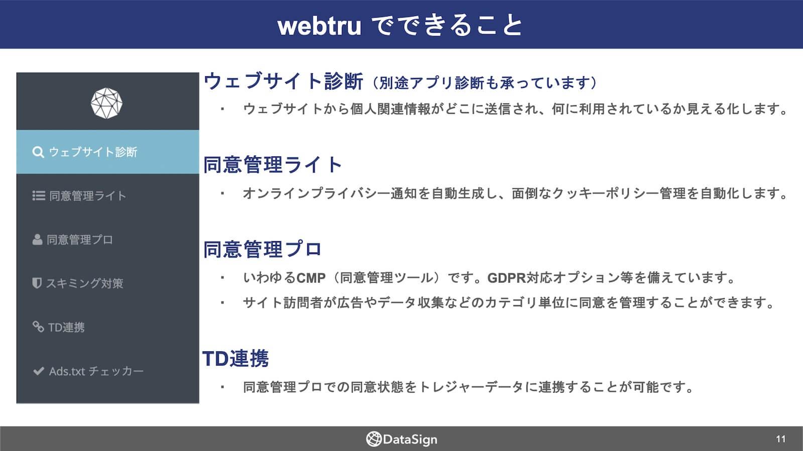 個人関連情報の取得状況を把握できるツール「webtru」